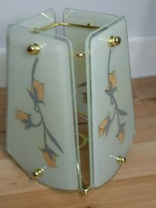 Vintage Retro Frosted Peach Flower Glass Lampshade Metal Frame Square light