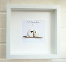 Pebble PICTURE Pebble ARTE Amore Gufi Uccelli GUFO IDEA REGALO HOME DECOR FATTO A MANO