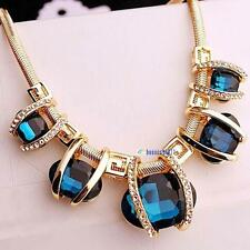 Fashion Women Crystal Pendant Chain Choker Chunky Statement Bib Blue Necklace GA