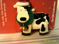 Rare Vtg Avon Holly Jolly Cow Ornament- With Wreath -New In Box-Free Shipping