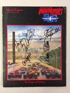 1985 Indy 500 auto racing program FOUR AUTOGRAPHS Villeneuve Sullivan Fittipaldi