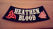 Heathen Blood Side Rocker Patch With Horns of Odin & Valknut.  Viking, Asatru.