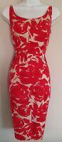 Womens Lk Bennett Pink Beige Floral Silk Mix Sleeveless Evening Pencil Dress 12.
