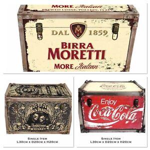 Multiple Designs, Drink Metal Storage Chest Trunk Retro Vintage Large Tool Box