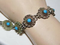 Middle Eastern Hand Made Silver filigree Blue Turquoise bead Bracelet 12e 21