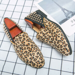 Mens Breathable Leopard Loafers Shoes Rivet Slip On Pumps Flats Nightclub Shoes