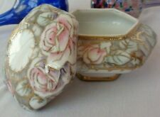 Antique Nippon Hand Painted Gold Accent Lidded Trinket Powder Jar 1891 - 1911