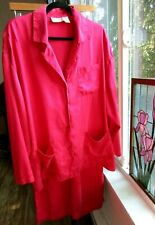 Vintage 80s Victoria's Secret M/L Red Washed Silk Pajamas Lounge Pants Top Set