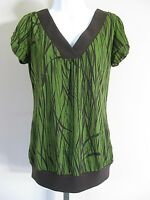 Maurices Size M Green Brown Short Sleeve Knit Top