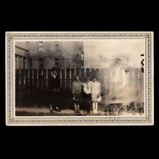 GIANT FREAK GHOST DAD WATCHES OVER SWEET FAMILY ~ 1920s DOUBLE EXPOSURE PHOTO