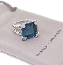 DAVID YURMAN Sterling 14mm Hampton Blue Topaz & Diamond Cushion on Point Ring
