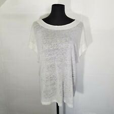 Sen Womens Blouse Isabella Top Size M White Linen Jersey Burnout Boxy Oversized
