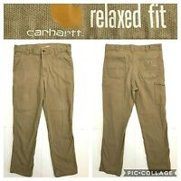 Carhartt mens size 36 x 34 relaxed fit khaki tan beige Cargo jeans DH2