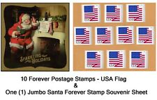 10 USA Forever Flag Stamps Self-Stick Postage and Santa Souvenir Sheet. TRACKING