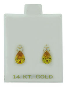 YELLOW TOPAZ 1.96 Cts  & WHITE SAPPHIRE STUD EARRING 14K GOLD ** New With Tag **