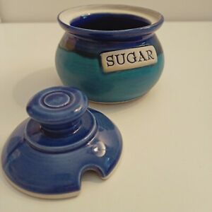 Sugar bowl with lid Pottery Ceramic glazed Blue Stamped 'T' very good condition