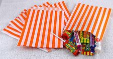 50 Arancione & Bianco Righe Sacchetti Di Carta Per Dolci Ogni Occasione