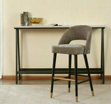 Kuka Grey Fabric Bar Stool / Solid wood legs with brass legs caps