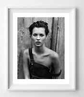 poster kate moss par peter/lindbergh célèbre photo , noir et blanc mode vogue