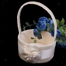 Champagne Satin Floral Bud Flower Girl Basket Wedding Party Supplies