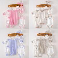 8PCS Newborn Baby Boy Girl Tops+Hat+Pants +Bib+Sock Shose+Romper Outfits Set
