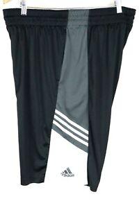 adidas Mens sz 2XL Black White 3 Stripe Basketball Training Shorts