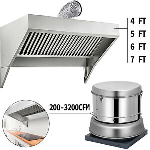 Restaurant Roof Hood Exhaust Fan 200-3200CFM Food Truck/Trailer Concession Hood