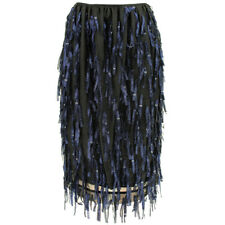 Dries Van Noten Black Midnight Navy Blue Silver Tasseled Pencil Skirt FR38 UK10
