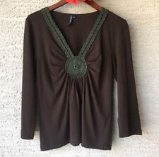 Womens Cha Cha Vente XL Brown Casual Pull On Top Crochet Neckline