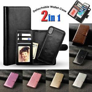 Leather Wallet Flip Removeable Detatchable Case For iPhone 12 11 XS XR 6 7 8Plus
