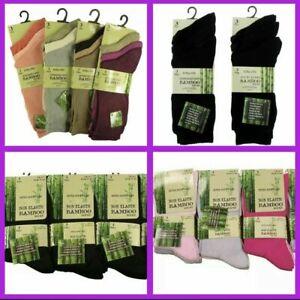 Ladies Bamboo Socks 6 Pairs-Normal & Non Elastic Tops - Black / Browns / Pastel