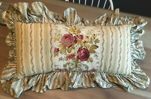 """24"""" Stunning Vintage Roses French Country Shabby Chic Pillow Ruffle Cushion"""