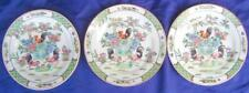 """3 Plates Roosters Peaches Antique Chinese Famille Rose Red Qing Dynasty Mark 10"""""""