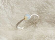 Moonstone Sterling Silver Wire Wrapped Ring SimpleHandmade OpaliteSize J