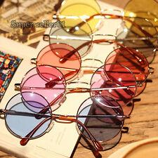 Femmes Hommes  Retro  lunettes rondes cadre coloré Lens Sunglasses  en plastique
