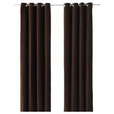 """IKEA SANELA Velvet Curtains 2 Panels Room Darkening Dark Brown 55""""X118"""""""