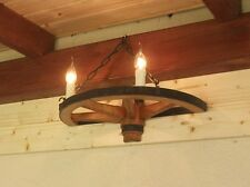 Wandleuchte Holzrad Wagenrad Kutsche Wandlampe Antik Deko Hotel Gaststätte 50-2