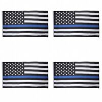 4-Pack Thin Blue Line American Flag 3X5' Police Stars & Stripes Support Flag