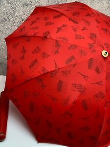 Vintage Saks Fifth Ave KNIRPS Umbrella Red ATHENS LONDON TOKYO CAIRO