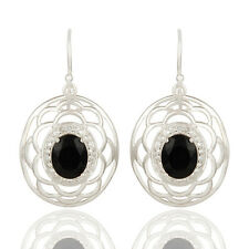 White Topaz And Black Onyx Gemstone 925 Silver Dangle Earrings Jewelry