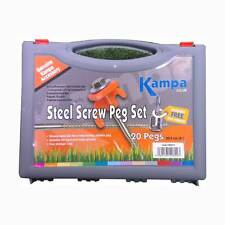 "20 HEX HEAD STEEL SCREW PEG & PULLER SET tent pegs carry case box 8"" 20cm"