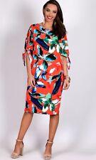 TEABERRY Split Sleeve Floral Loose Fit Dress Orange/Red BNWT 10, 12, 14 16 18
