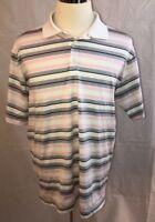 NIKE GOLF Men's Dri-Fit Pink Striped Short Sleeve Polo Shirt Size L