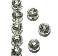 MBXX7146L2 Antiqued Silver 10mm Round Heart Deco Metal Spacer Beads 200pc