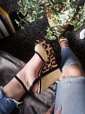 DUNE leopard Print Ponyhair Ankle Strap Wedges Uk8 / Eu41