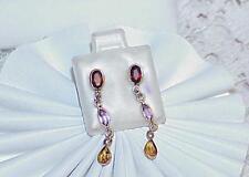 14k Garnet Amethyst Citrine Dangle Earrings Drop Gemstone New Tag
