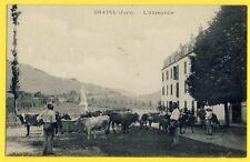 cpa Rare Cachet Cousance GIZIA (Jura) CHÂTEL L'ABREUVOIR Vaches Fermier Fontaine