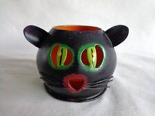 Black Cat Candle Holder Tea Light Metal Halloween Decor