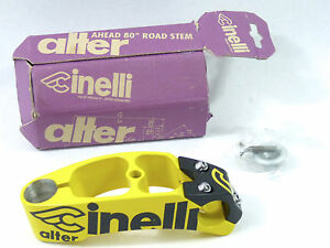 """Cinelli Alter stem 120mm 1"""" black yellow Once Vintage Bicycle Lance New NOS"""