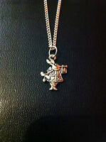 """ALICE IN WONDERLAND RABBIT CHARM NECKLACE 18"""" SILVER CHAIN IN GIFT BAG"""